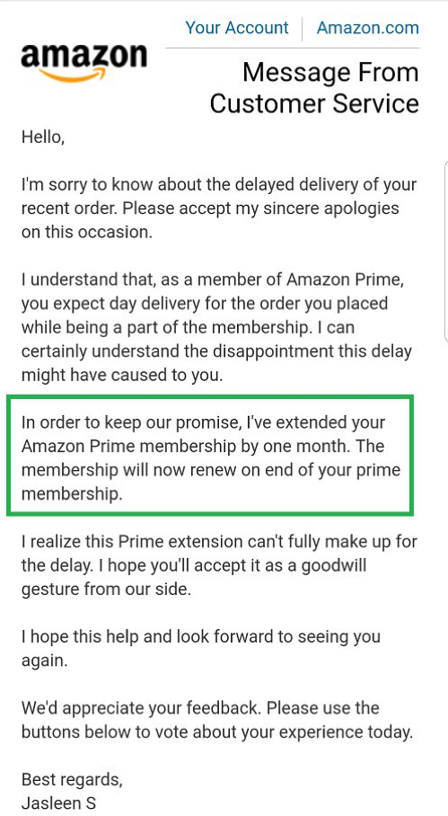 Message from Amazon Customer Service