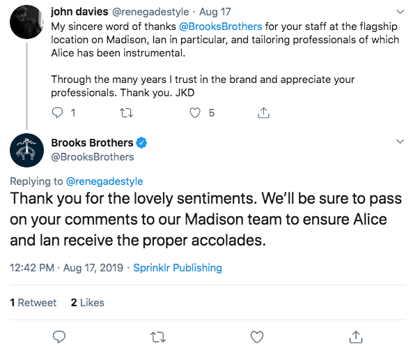 Brooks Brothers Twitter Example