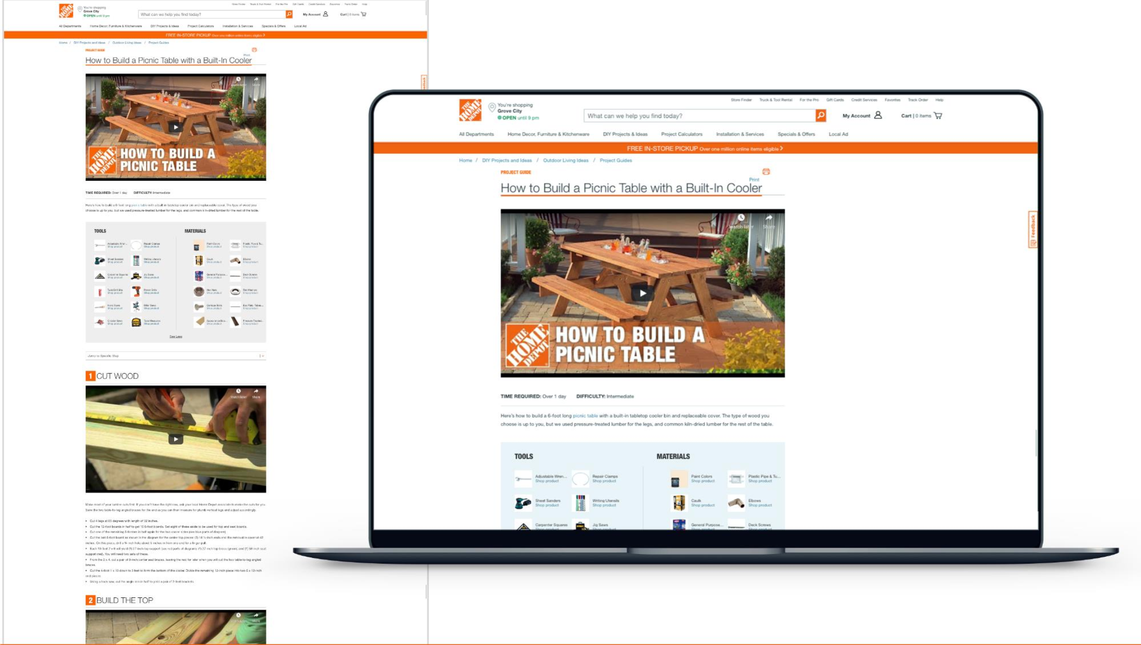 Image of The Home Depot's website - How to Build a Picnic Table with a Built-in Cooler