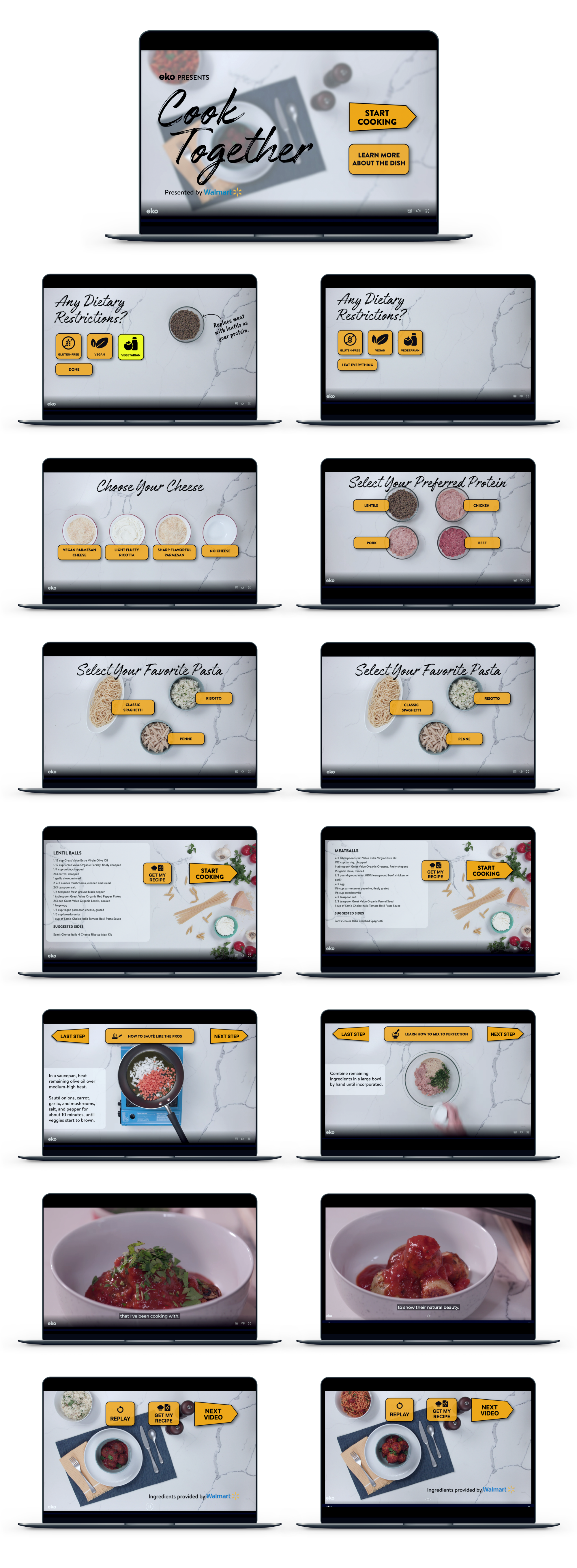 A series of images on computer screens showing the steps to cook a dish
