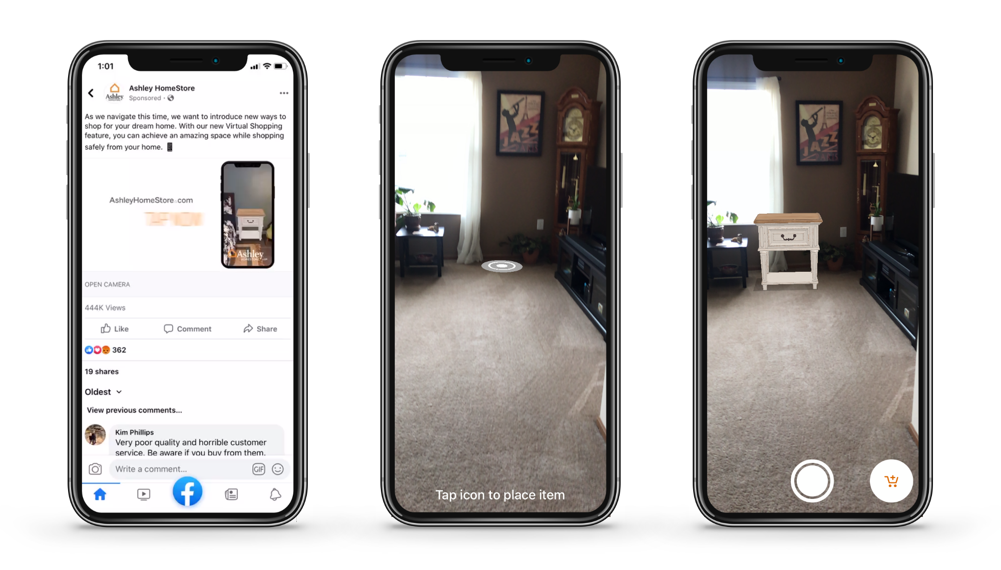 3 phone images; 1 showing Ashley HomeStore site, 1 showing a room and 1 showing a room with a table inserted