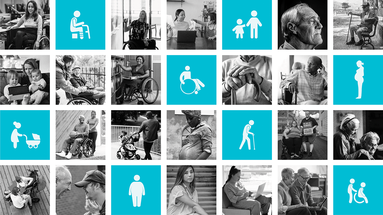 A grid of inclusive icons and images